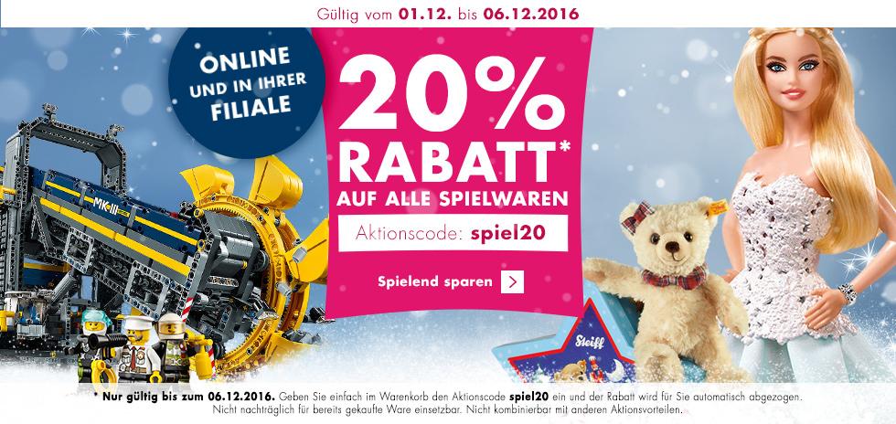 KARSTADT Online + Lokal: 20% Rabatt auf alle Spielwaren vom 1. bis 6.12.16