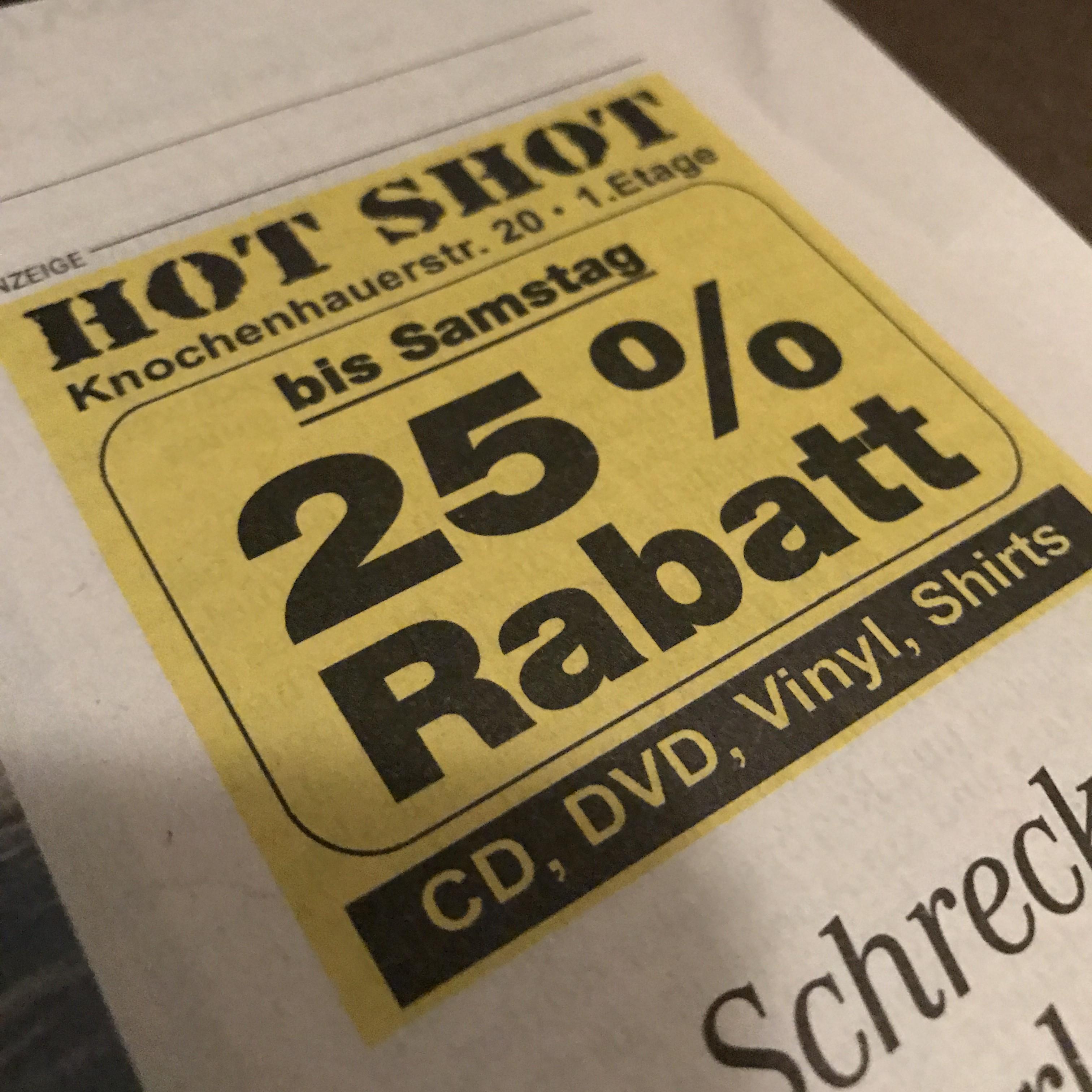 25% auf alles bei Hots Shot Records in Bremen