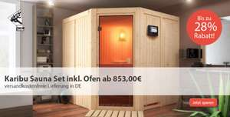 Massivholzsauna | Komplettset ab 879€ (All-Inklusive!) Idealo ab 1383€