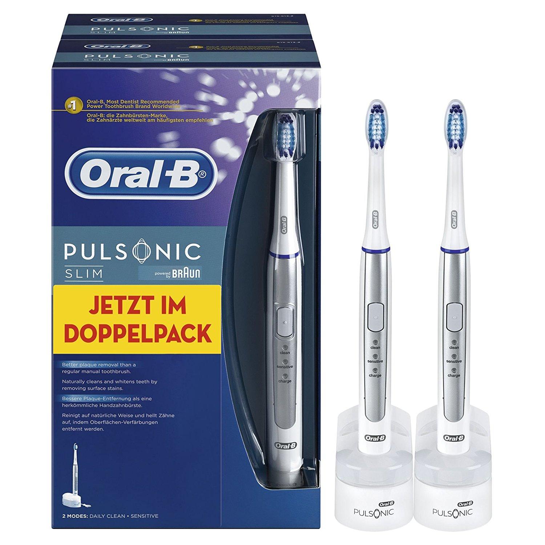[Blitzangebot] Oral-B Pulsonic Slim Schallzahnbürste Doppelpack (Elektrische Zahnbürste mit 2. Handstück, Ultraschallzahnbürste