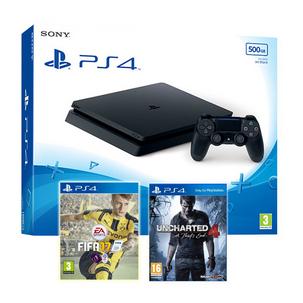 Sony PlayStation 4 500GB Slim + Uncharted 4 + FIFA 17 für 248,53€ bei Shopto