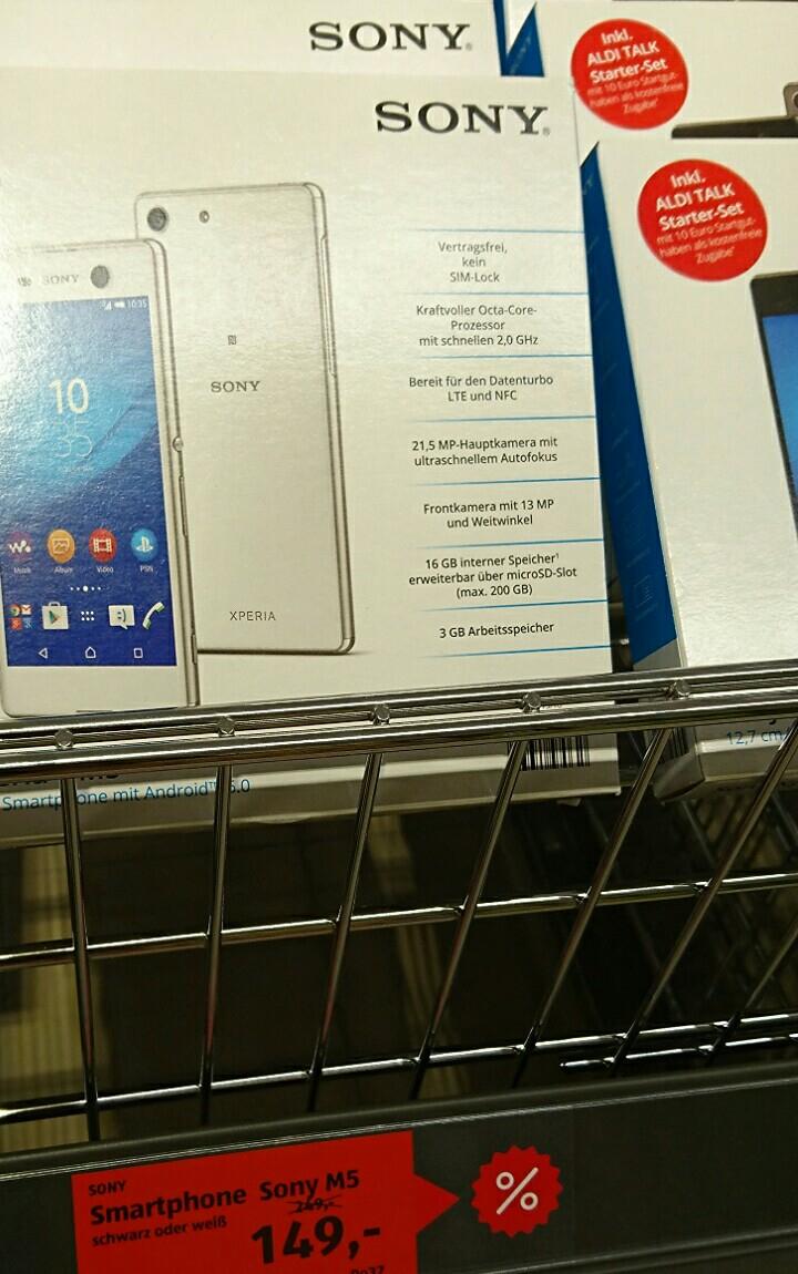 """[Lokal Dormagen] Sony Xperia M5: 5"""" Full HD IPS Display, LTE, 3GB Ram, 16GB Speicher, Android 6.0, Bluetooth, 21,5 MP Kamera [incl. 10€ Aldi Talk Starter]"""