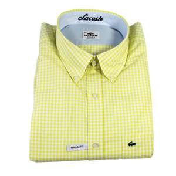 Lacoste Herren Langarm Hemd Größen 39 40 41 42 43 44 gelb/weiß @30,95€ Sim-Buy