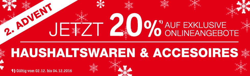 20% Rabatt zum 2. Adventswochenende auf Haushaltswaren und Accessoires bei XXXL