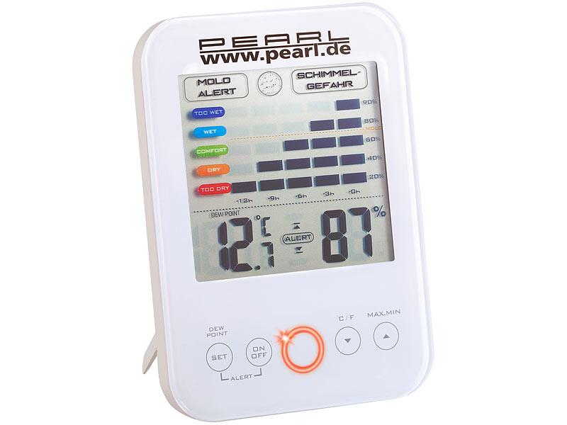 [Pearl] Schimmelalarm Taupunktmesser mit LED-Warnleuchte, Batterielaufzeit > 2 Jahre! + 12-seitiger Monatskalender (auch mehrere)