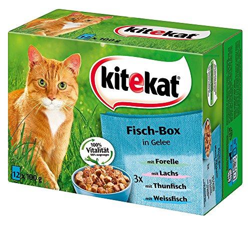 (Amazon Prime) Kitekat Katzenfutter Fisch-Box in Gelee, 48 Beutel (4 x 12 x 100 g)