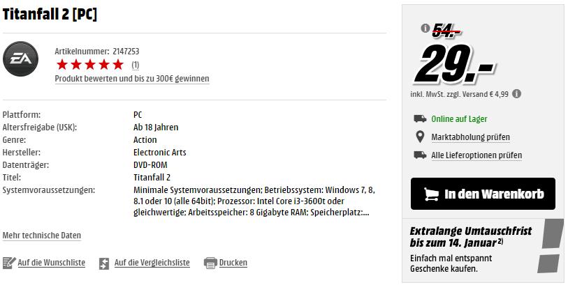 Titanfall 2 (PC) für 29€