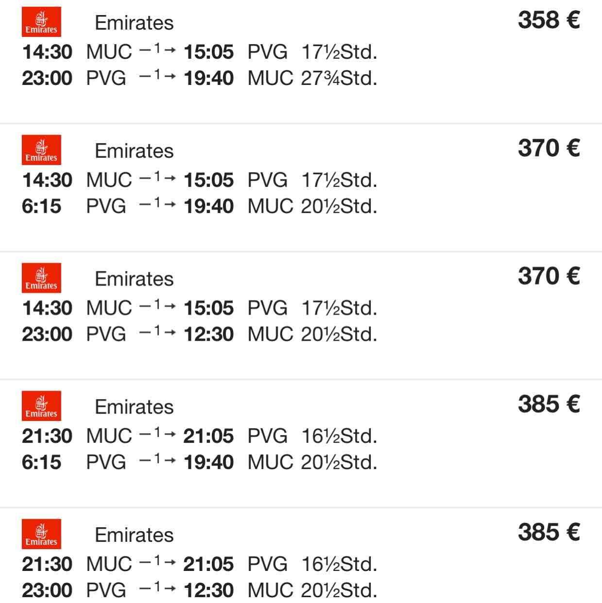 Emirates 2 in 1: Shanghai, China und Dubai, UAE von München für €358!