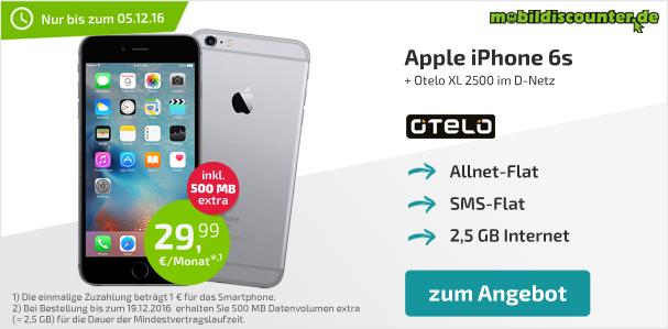 iPhone 6s 32GB grau Mit otelo Allnet-Flat XL2500 für 29,99€ mtl und einmalig 34,99€