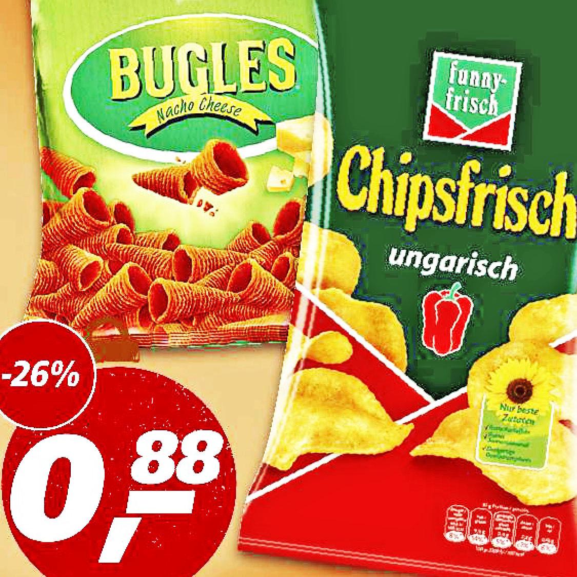 Funny-Frisch, leckere Bugles Maishörnchen und auch Lay´s Deep Ridged für nur 88 Cent bei [Real]
