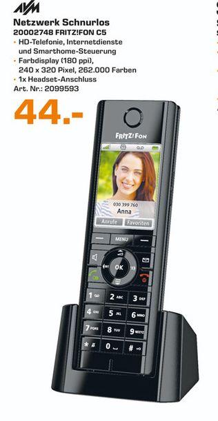 [Vorankündigung Lokal Saturn Wesel..Tagesangebot am 09.12] FRITZ!Fon C5 Dect-Schnurlostelefon Babyfon-Funktion Anrufbeantworter (Schwarz) für 44,-€