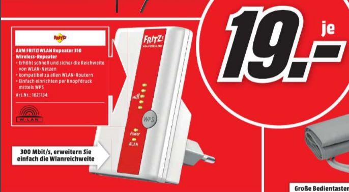 [Lokal Mediamarkt Gießen] AVM FRITZ!WLAN Repeater 310 (300 Mbit/s, WPS) für 19,-€
