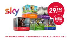 Sky komplett 29,99 Euro/Monat mit Sky + Pro Festplattenreceiver für 23 Monate