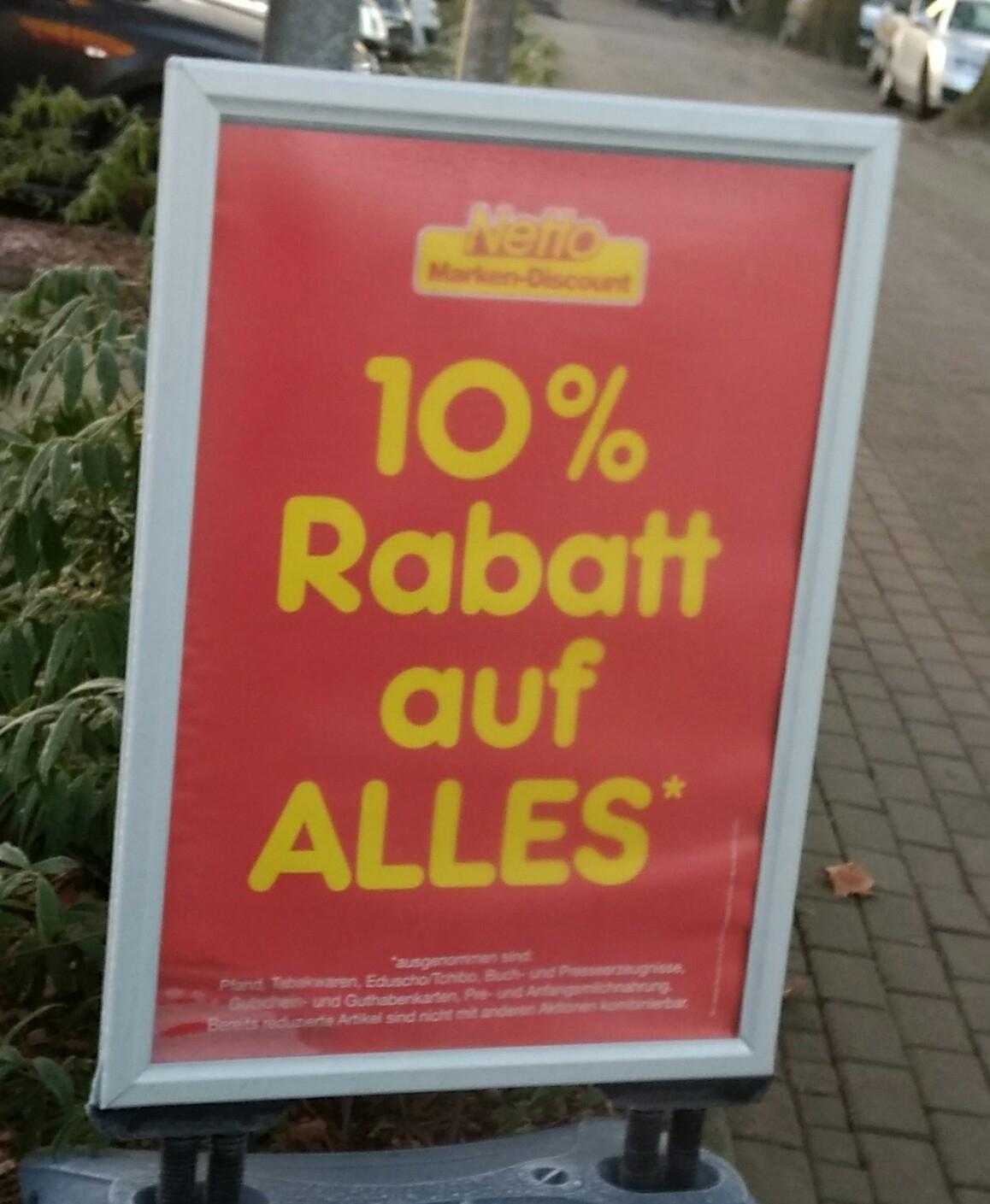 Lokal: 10% auf alles bei Netto Recklinghausen Herner Str.