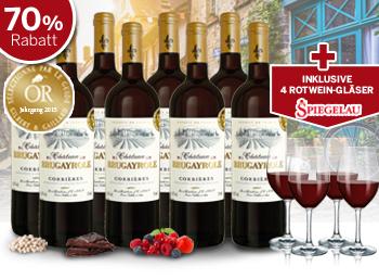 8 Flaschen Château Brugayrole Rotwein (5x in Folge goldprämiert) + 4 Spiegelau Rotwein-Gläser für 39,90€ inkl. Versand (statt 134,39€) [ebrosia.de]