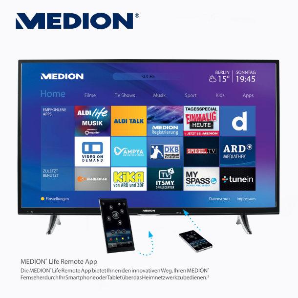 """[LOKAL ALDI Nord] ab 08.12. Medion 43"""" Ultra HD Smart-TV mit LED-Backlight-Technologie"""