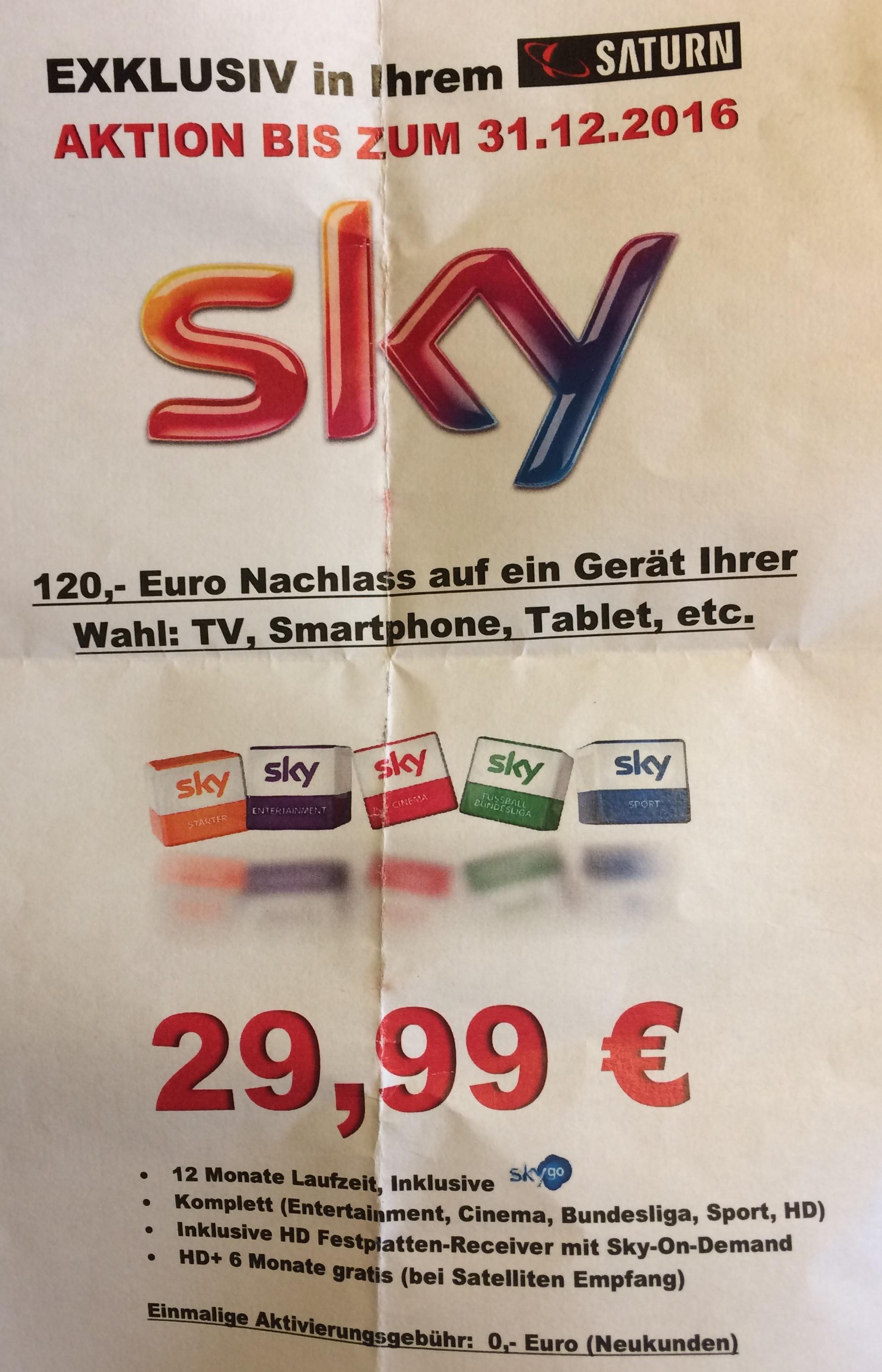Sky Komplett für 29,99€ +120€ Nachlass/Gutschein beim Saturn Bad Oeynhausen eventuell Bundesweit?