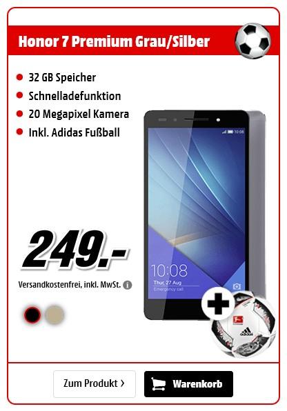 Honor 7 Premium (32 GB, 5.2 Zoll, Gold + Grau/Silber, LTE) für 249,00€ vsk-frei @mediamarkt.de + Adidas Fußball