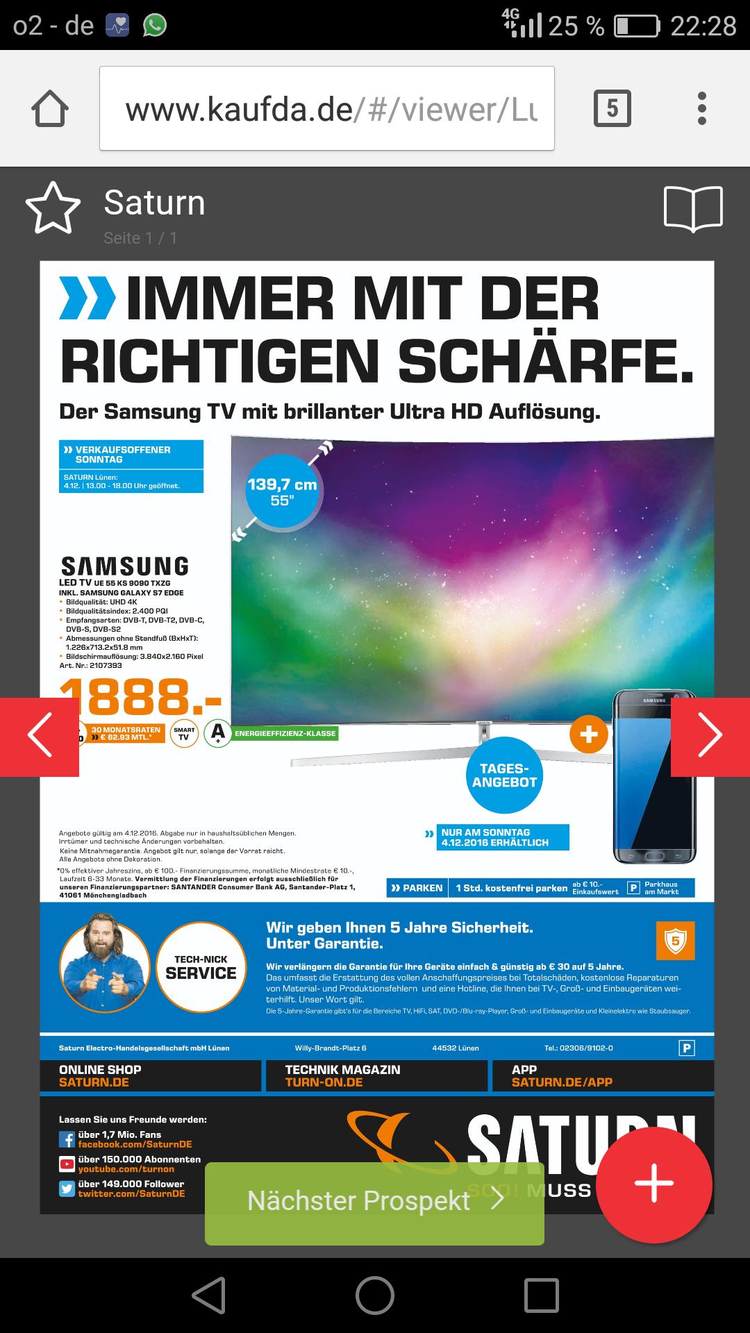 [Lünen] Samsung UE55kS9090 mit S7 Edge