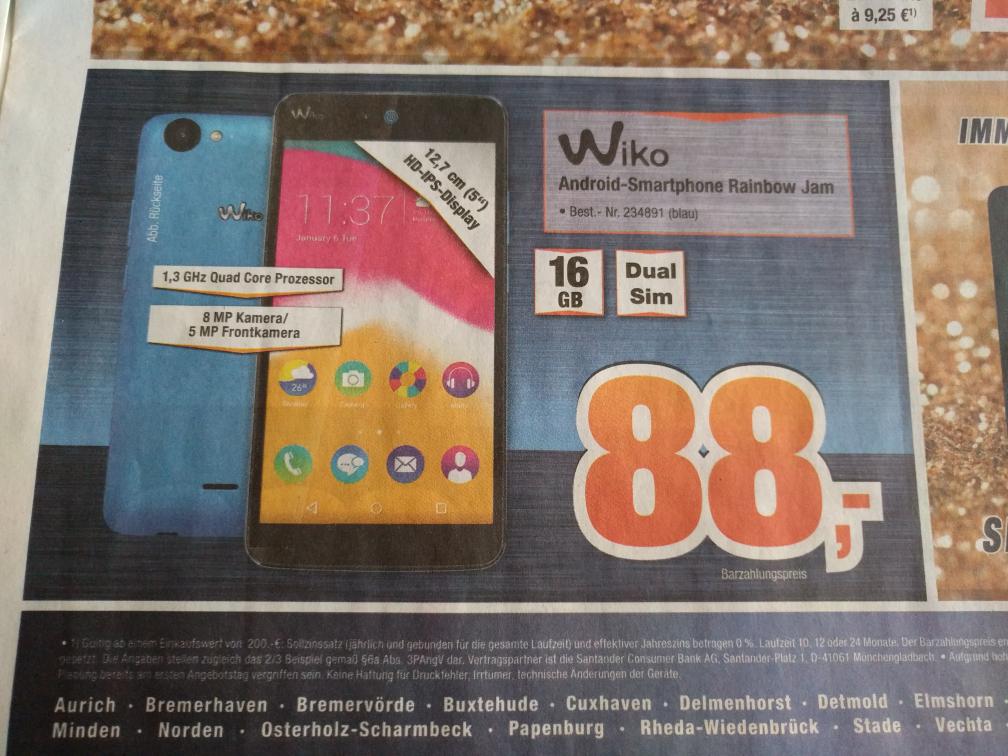 "[expert Bening] Wiko Rainbow Jam 16 GB Dual SIM 5"" Android Smartphone in blau"