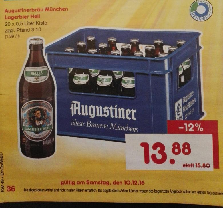 [netto lokal Bayern?] Samstags Kracher - Kasten Augustiner Hell für fast Bestpreis