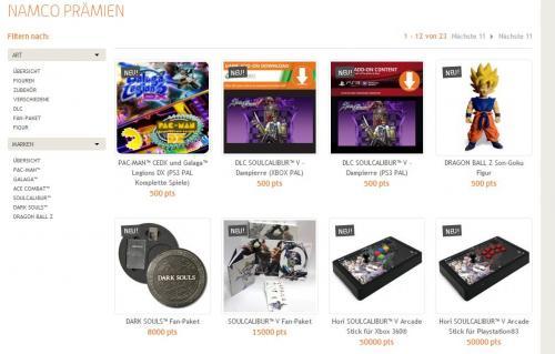 Namco Bandai Punkte Sammeln und Prämie abstauben