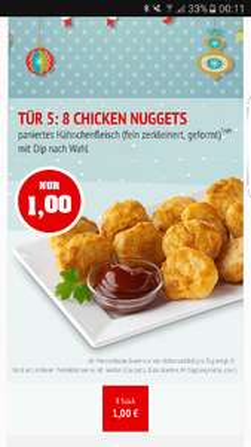 Call a Pizza Adventskalender - 8 Nuggets für 1€ inkl Dip bei erreichen des MBW