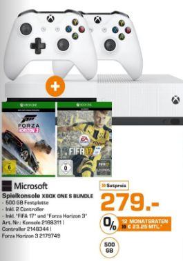 [Lokal Saturn Hamburg/Norderstedt] Microsoft Xbox One S 500GB + FIFA 17 + Forza Horizon 3 + 2.ten Controller für 279,-€