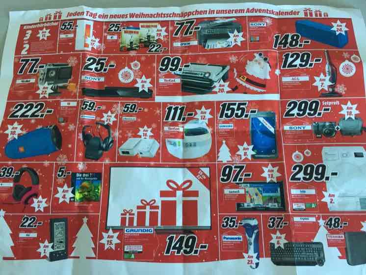 [Lokal Itzehoe MM] Adventskalender jeden Tag ein Angebot z.B.: 15.12. Grundig 22GFB5620 für 149,- € statt PVG 190,- €