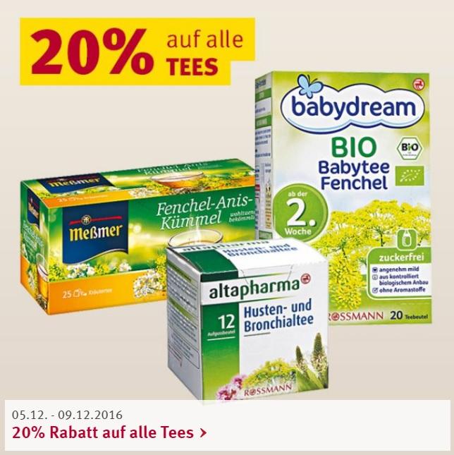 [Rossmann] 20 % auf alle Tees - Online + Offline