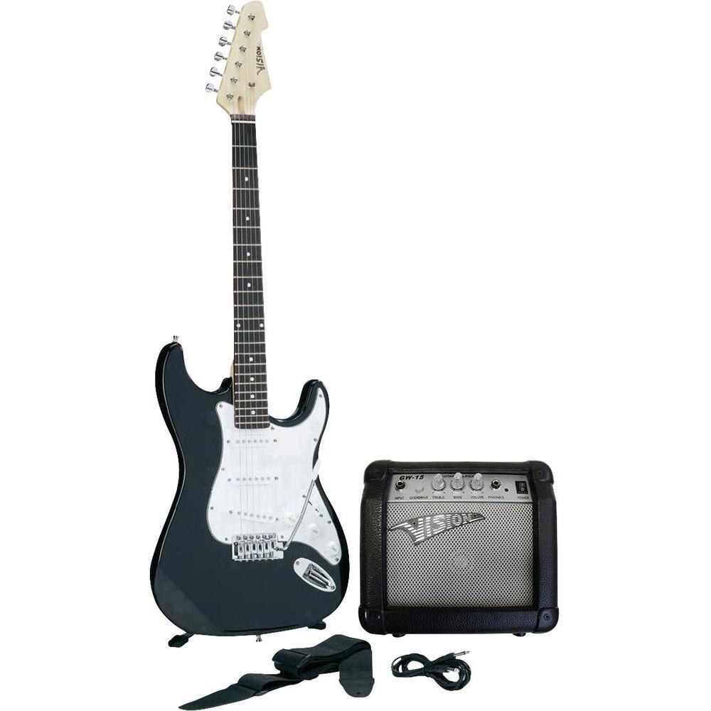 [Conrad] E-Gitarren-Set MSA Musikinstrumente Schwarz inkl. Tasche, inkl. Verstärker