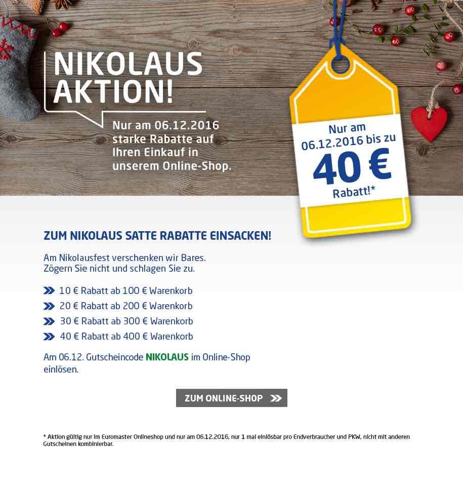 Euromaster bares Geld im Onlineshop sparen. Nur am 06.12
