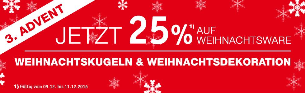 25% Rabatt auf Weihnachtsware bei XXXL