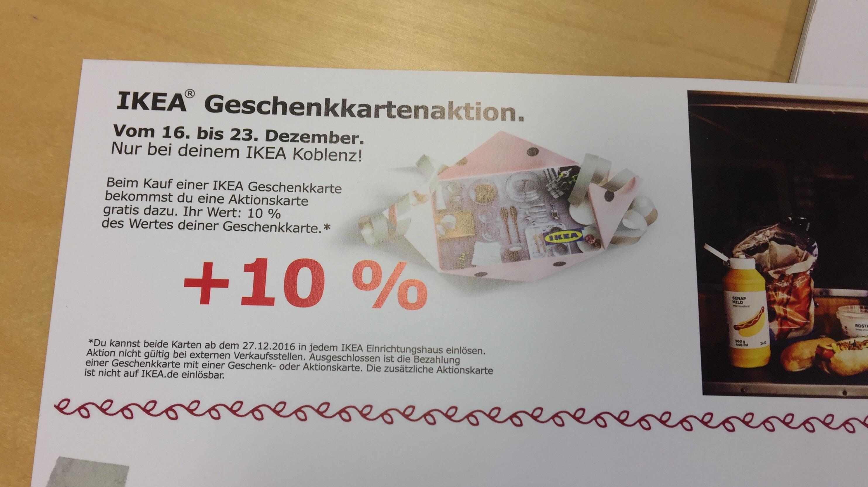 [Vorankündigung, Lokal] IKEA 10% Aktionskarte beim Kauf von Geschenkgutscheinen