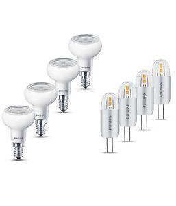4er Pack Philips LED-Lampe E14/G4, 2W/4,5W ersetzt 20W/40W, 200/255lm EEK A+/A++ für 12,99€