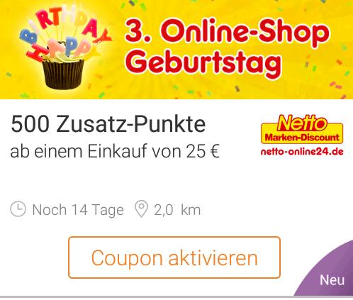 [DeutschlandCard] Netto MD Onlineshop 500 Zusatzpunkte bei 25 € MBW