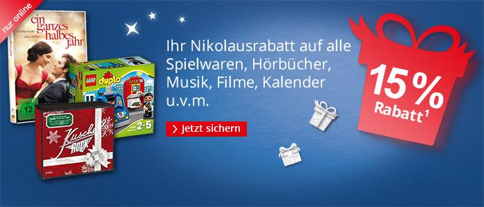 15% auf ALLES bei Hugendubel (online) außer Bücher - Code: NIKOLAUS15