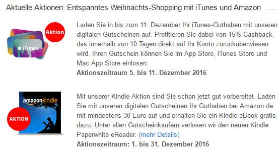 Für DKB Kunden - 15% Cashback auf iTunes Gutscheine oder Amazon Kindle eBook gratis ab 30€ MBW