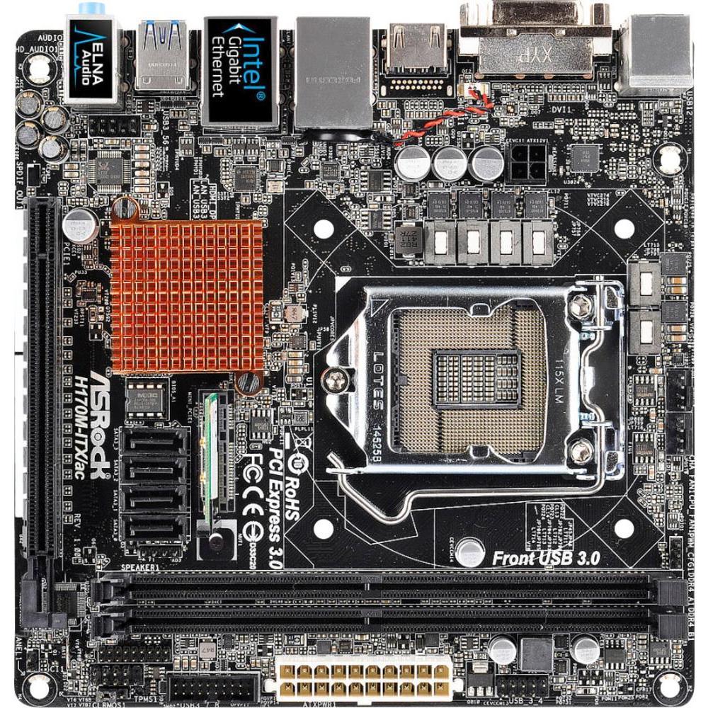 [Conrad] Mainboard ASRock H170M ITX/AC Sockel Intel® 1151 Formfaktor Mini-ITX Mainboard-Chipsatz Intel® H170