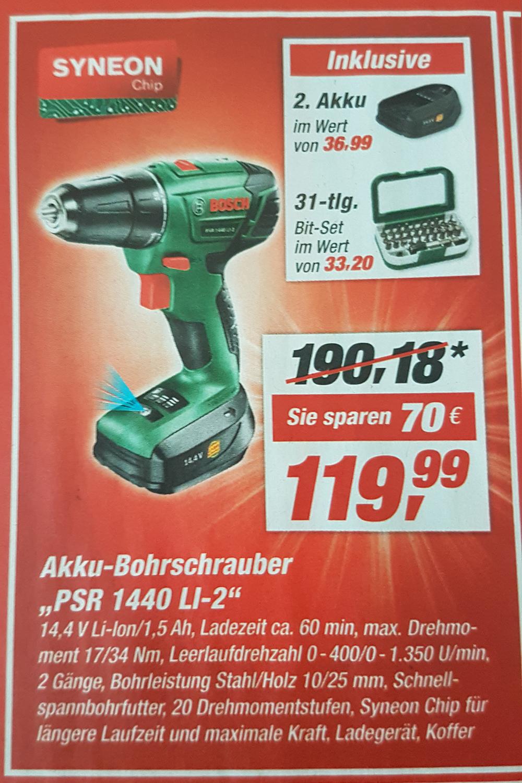 [Toom Baumarkt] Bosch PSR 14,4 LI-2 (inkl. zweiter Akku + 31 Tlg. Bit-Set)