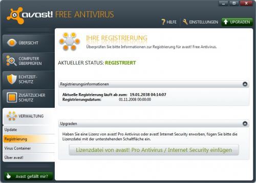 Avast Free bis 2038 registrieren
