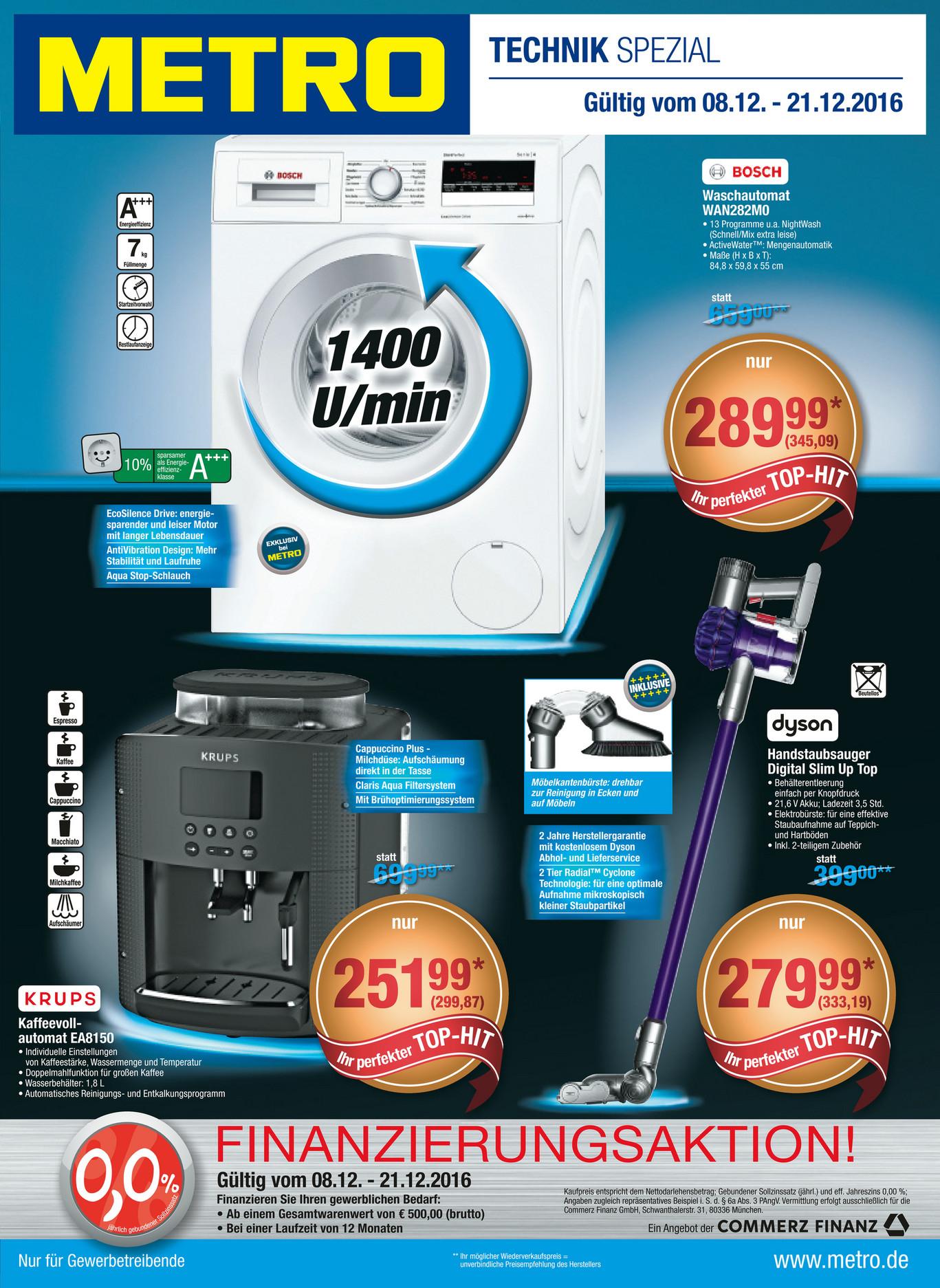 [Metro ab 08.12.] Bosch WAN282H0 Waschmaschine 7kg A+++ 1400 U/min 13 Programme Mengenautomatik