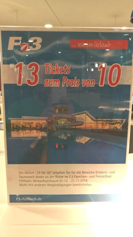 F3 Erlebnis Bad Fellbach 13 Tickets zum Preis von 10