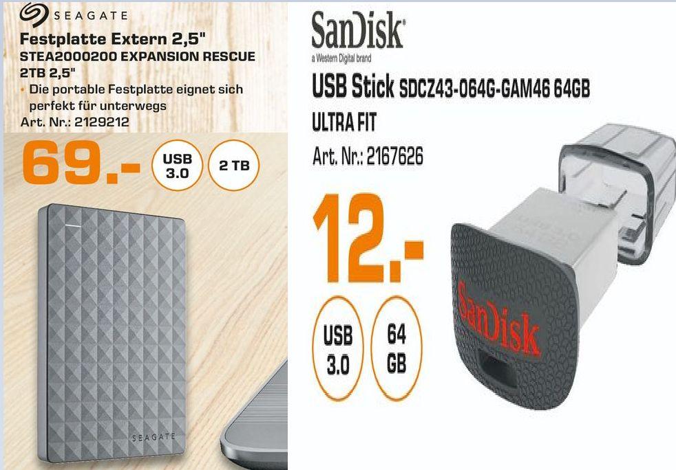 [Lokal Saturn Stuttgart und Esslingen] SEAGATE Expansion Portable Rescue Edition STEA2000200, Externe Festplatte, 2 TB, 2.5 Zoll für 69,-€ und SanDisk Ultra Fit 64 GB USB-Flash-Laufwerk USB 3.0 bis zu 130MB/?Sek für 12,-€