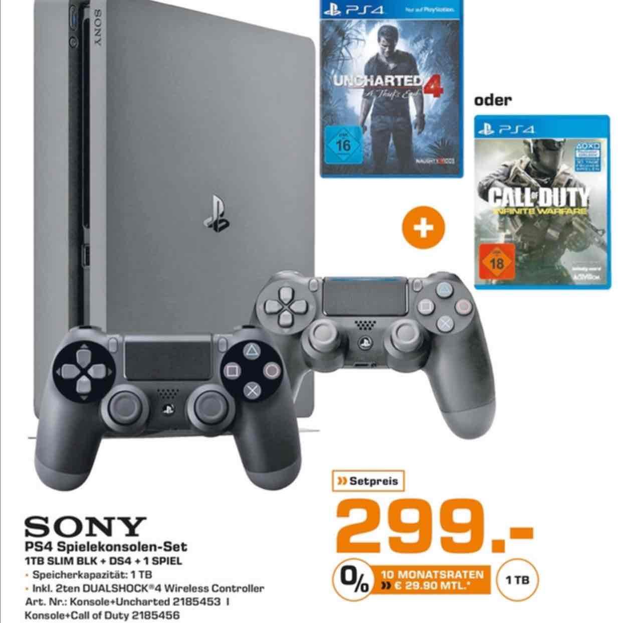 LOKAL PS4 Slim 1TB + 1 Spiel + 2. Controller für 299€ bei Saturn Stuttgart/Esslingen