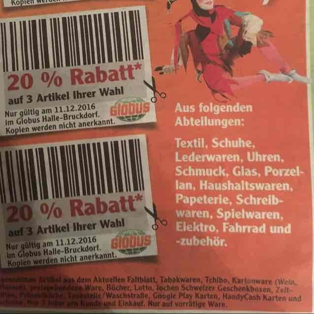 Lokal: Halle/ Saale; Globus SB Warenhaus 20%