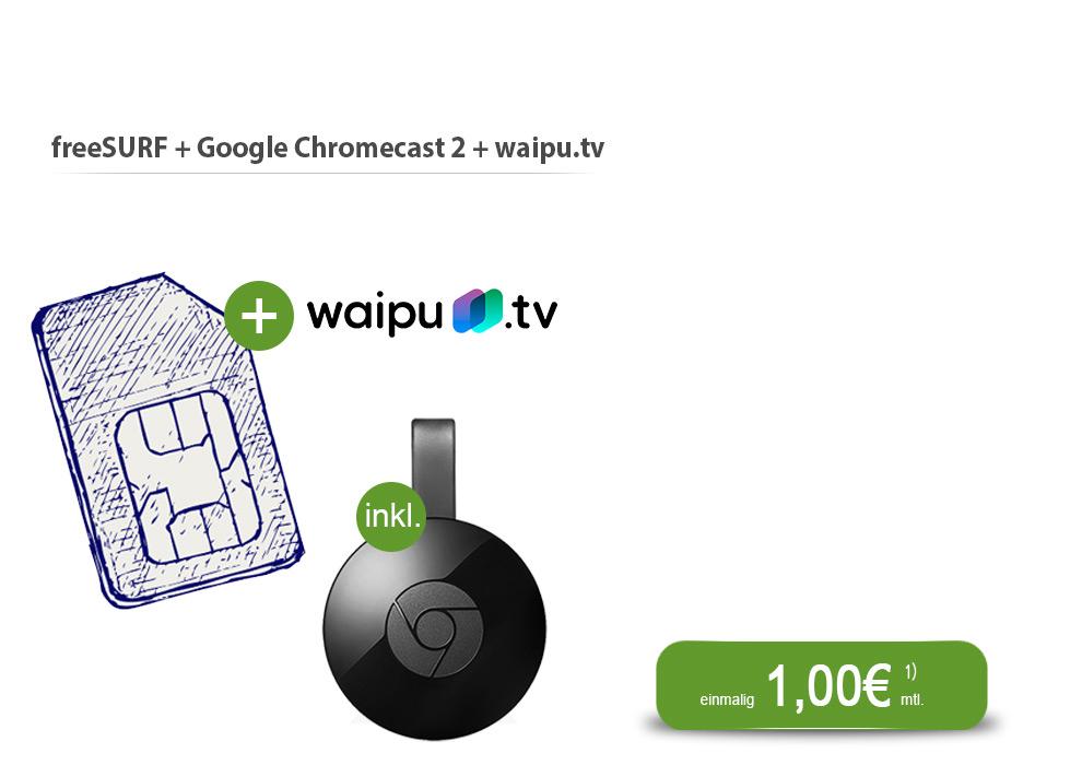 Chromecast 2 für 12,94€ inkl. 1 Monat waipu.tv und 4 Monate freenetmobile 500 MB