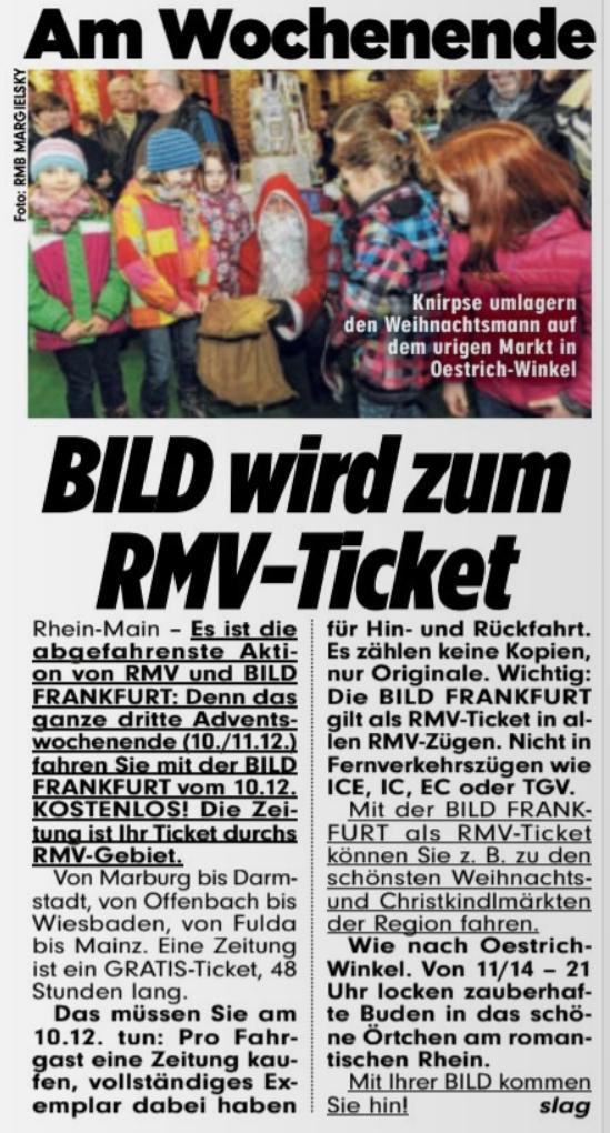 BILD Frankfurt kaufen und kostenlos Bahn fahren im RMV am 10. + 11.12.
