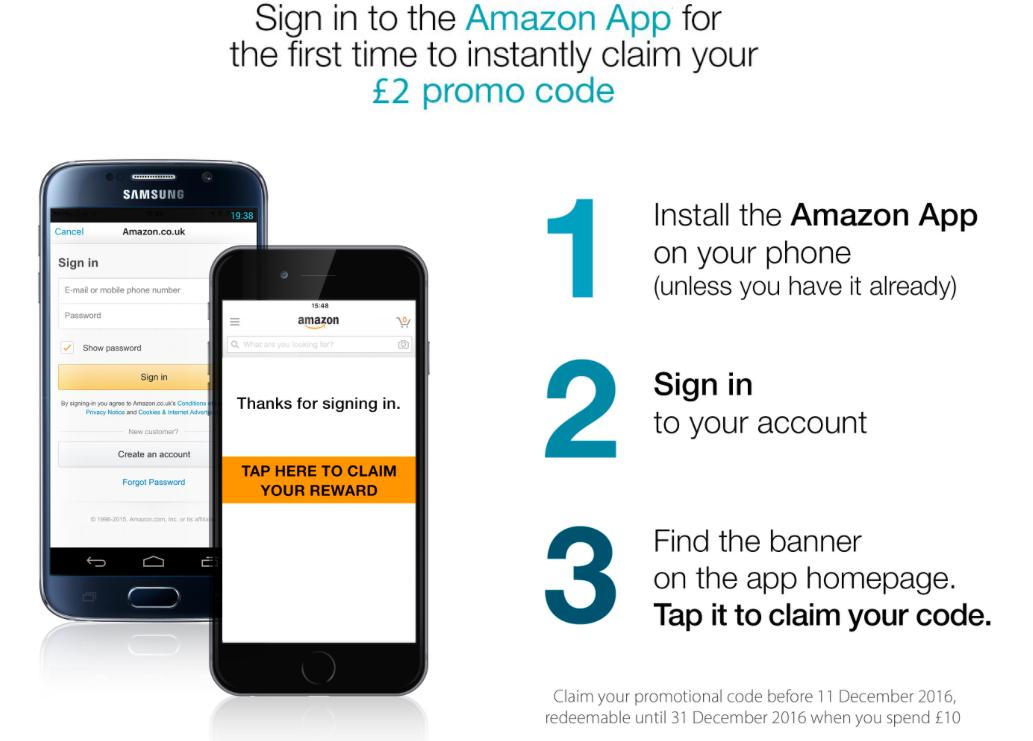 Amazon UK: 2 GBP Gutschein für Installation und Nutzung der Amazon UK App