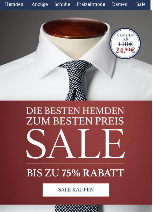 Sale bei Ctshirts- Hemden uvm Reduziert